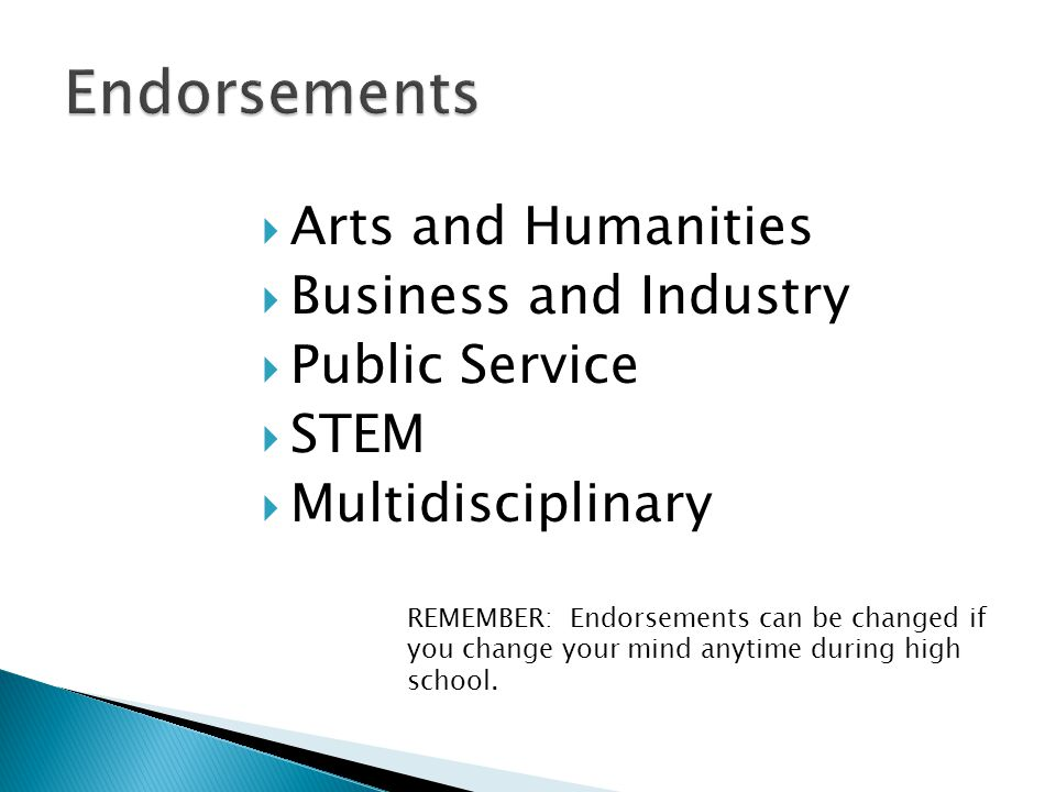  Arts and Humanities  Business and Industry  Public Service  STEM  Multidisciplinary REMEMBER: Endorsements can be changed if you change your min