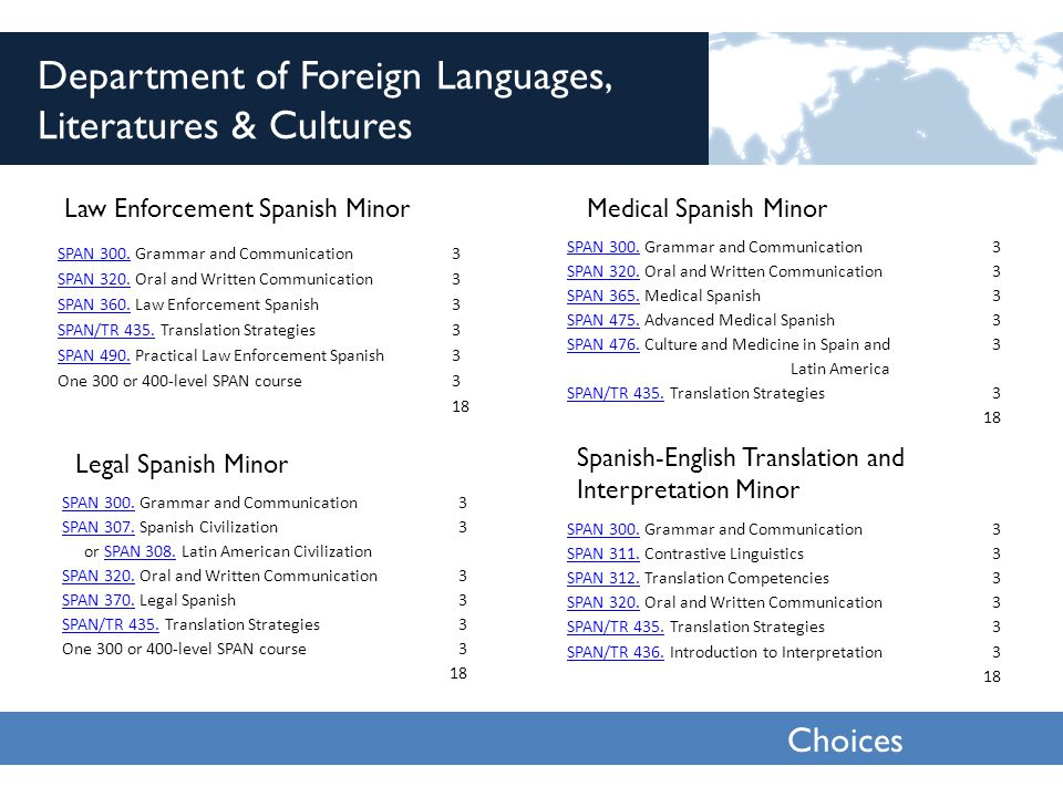 Choices 2013 Department of Foreign Languages, Literatures & Cultures Law Enforcement Spanish Minor SPAN 300.SPAN 300.