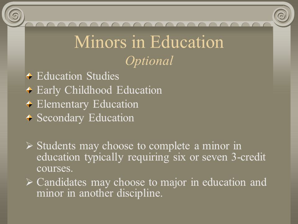 Minors in Education Optional Education Studies Early Childhood Education Elementary Education Secondary Education  Students may choose to complete a minor in education typically requiring six or seven 3-credit courses.