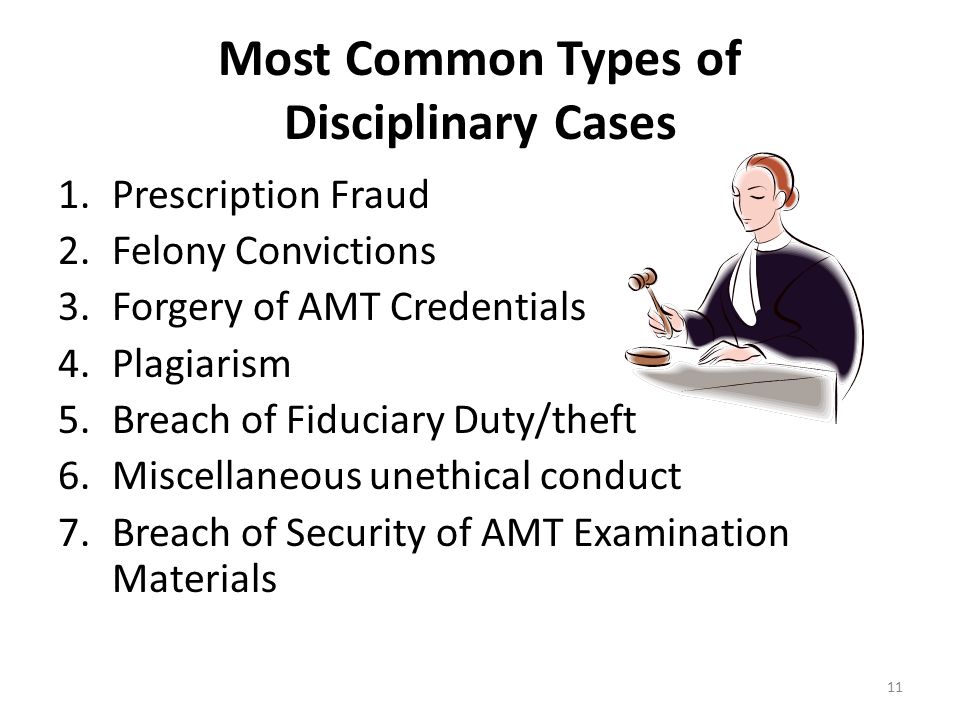 Most Common Types of Disciplinary Cases 1.Prescription Fraud 2.Felony Convictions 3.Forgery of AMT Credentials 4.Plagiarism 5.Breach of Fiduciary Duty/theft 6.Miscellaneous unethical conduct 7.Breach of Security of AMT Examination Materials 11