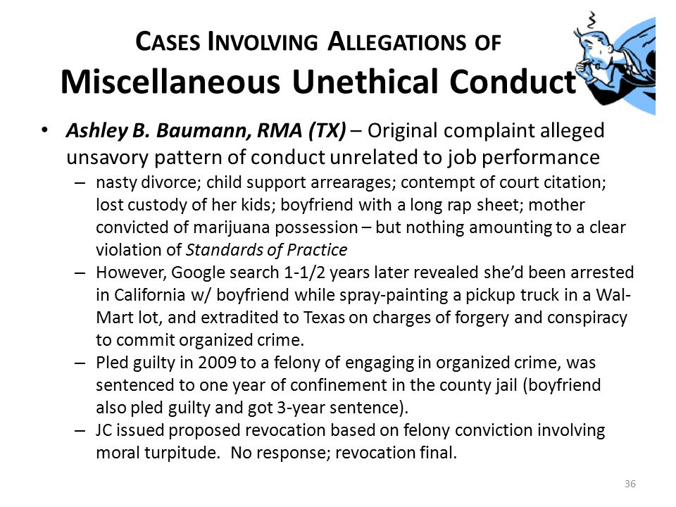 C ASES I NVOLVING A LLEGATIONS OF Miscellaneous Unethical Conduct Ashley B.