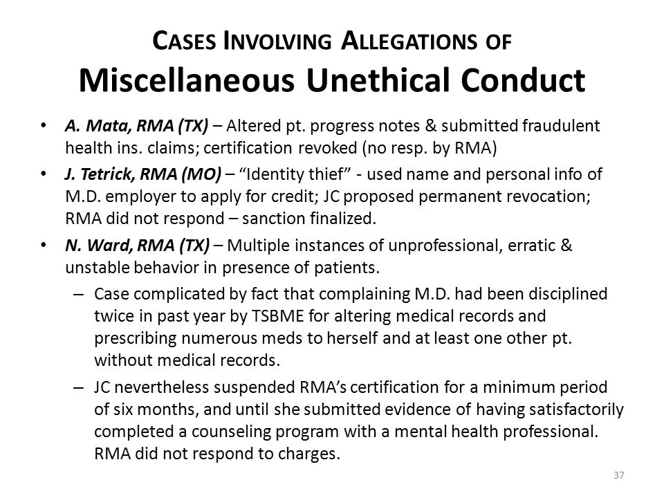 C ASES I NVOLVING A LLEGATIONS OF Miscellaneous Unethical Conduct A.