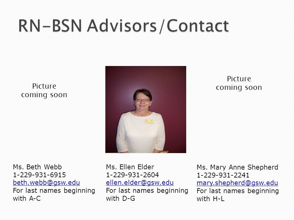 Ms. Beth Webb 1-229-931-6915 beth.webb@gsw.edu For last names beginning with A-C Ms.