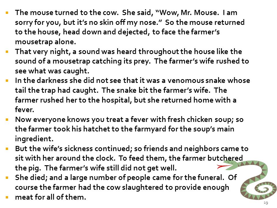  A mouse looked through the crack in the wall to see the farmer and his wife opening a package.