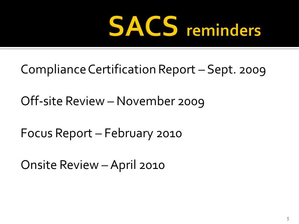 Compliance Certification Report – Sept.