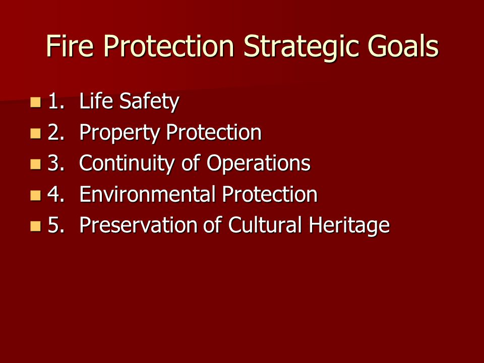 Fire Protection Strategic Goals 1.Life Safety 1. Life Safety 2.