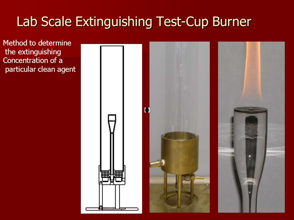 Lab Scale Extinguishing Test-Cup Burner Method to determine the extinguishing Concentration of a particular clean agent