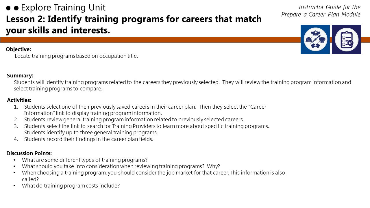 Lesson 2: Identify training programs for careers that match your skills and interests.