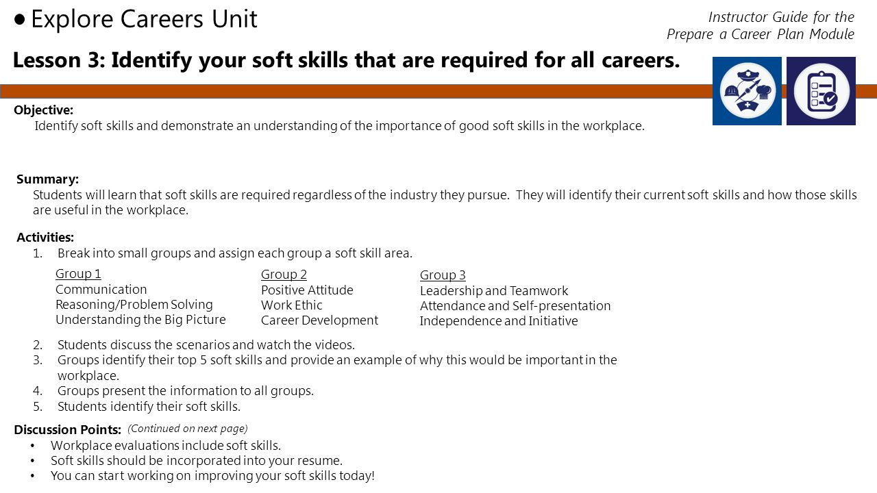 Lesson 3: Identify your soft skills that are required for all careers.