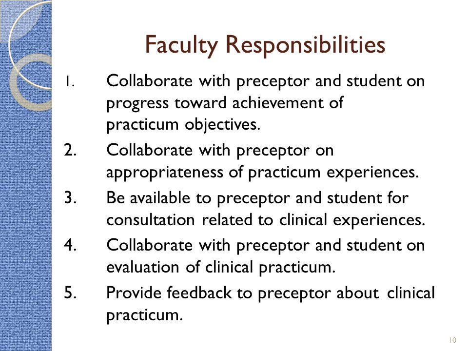 Faculty Responsibilities 1.