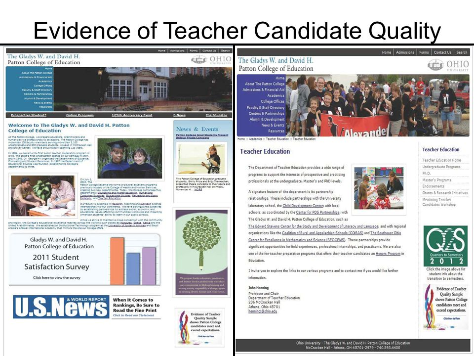 Evidence of Teacher Candidate Quality