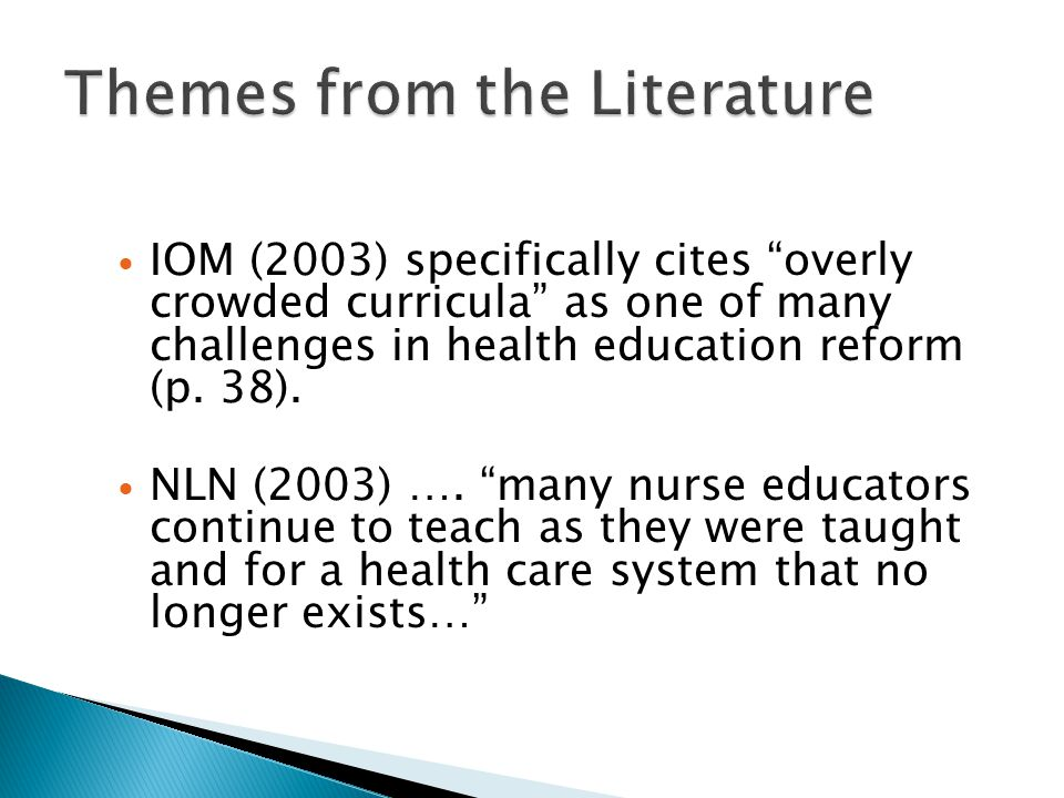 "IOM (2003) specifically cites ""overly crowded curricula"" as one of many challenges in health education reform (p. 38). NLN (2003) …. ""many nurse educa"