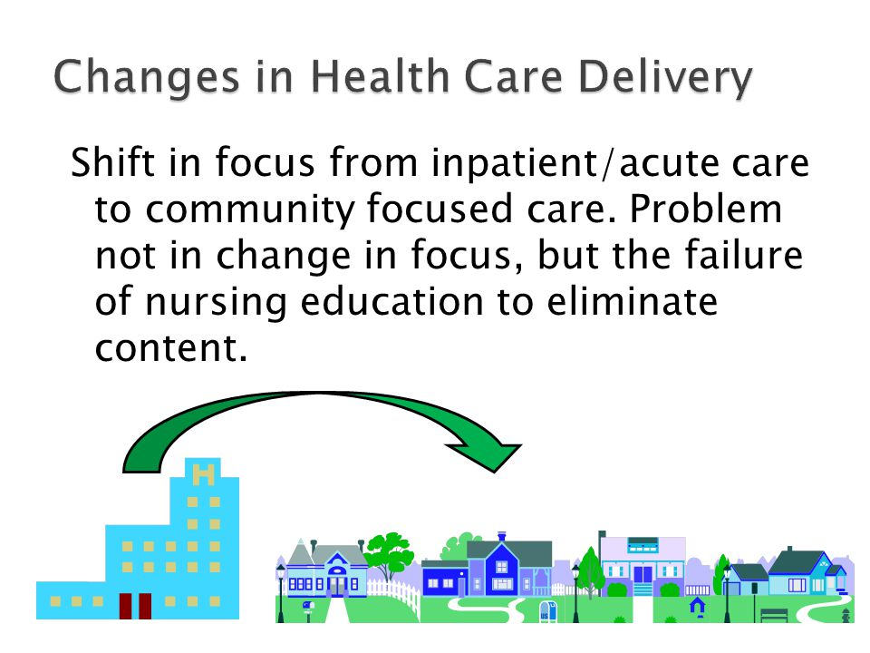 Shift in focus from inpatient/acute care to community focused care. Problem not in change in focus, but the failure of nursing education to eliminate