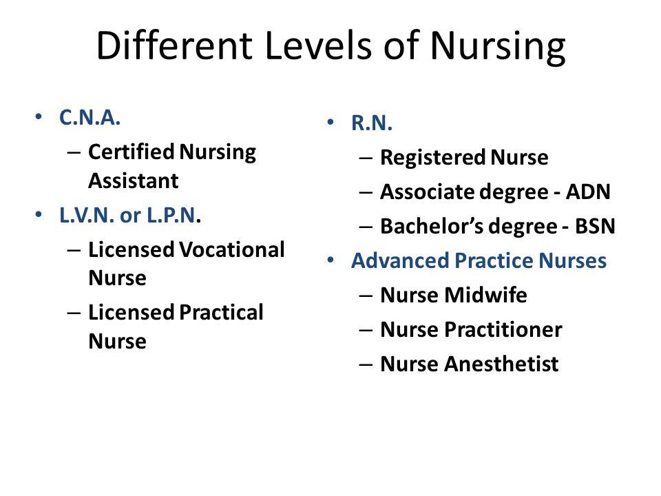 Different Levels of Nursing C.N.A. – Certified Nursing Assistant L.V.N.
