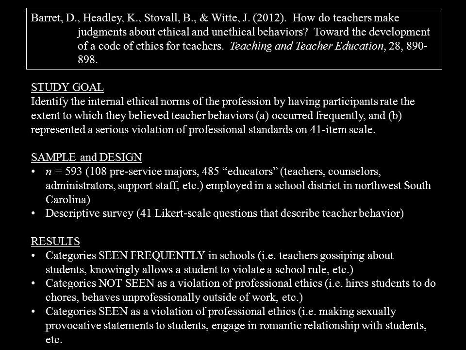 Barret, D., Headley, K., Stovall, B., & Witte, J. (2012).