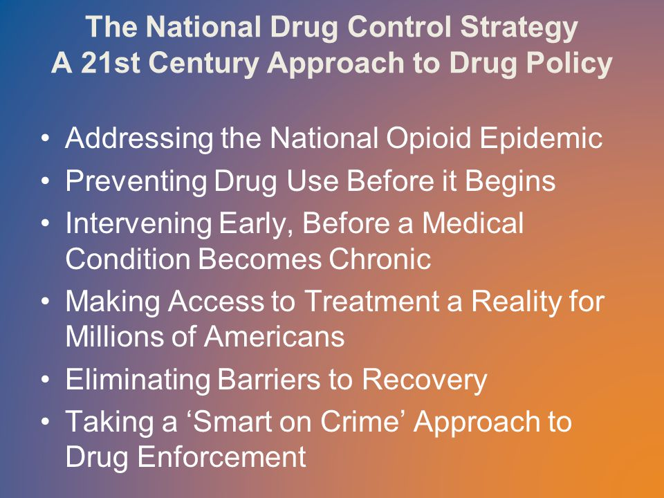 The National Drug Control Strategy A 21st Century Approach to Drug Policy Addressing the National Opioid Epidemic Preventing Drug Use Before it Begins Intervening Early, Before a Medical Condition Becomes Chronic Making Access to Treatment a Reality for Millions of Americans Eliminating Barriers to Recovery Taking a 'Smart on Crime' Approach to Drug Enforcement