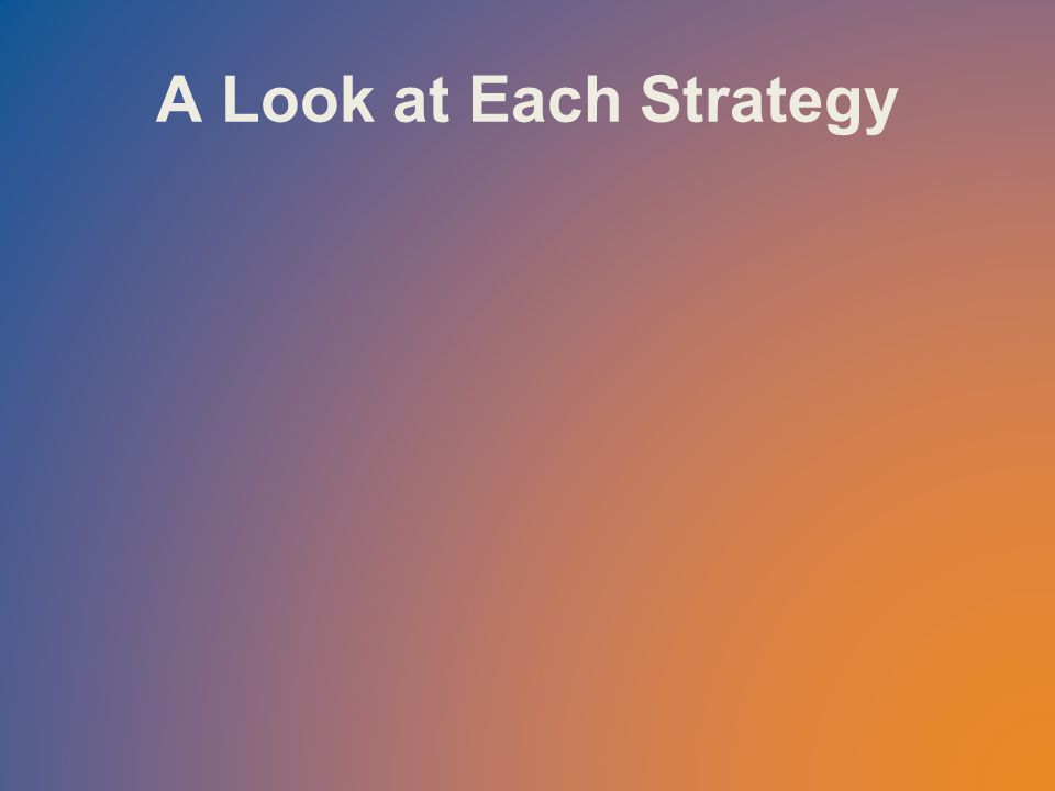 A Look at Each Strategy