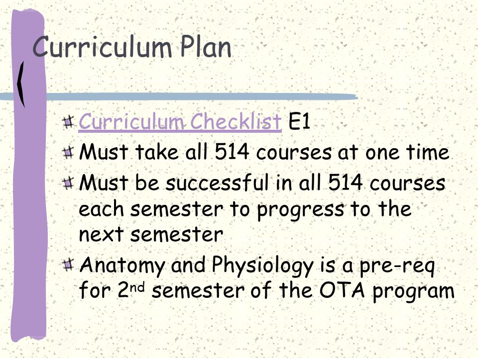 Curriculum Plan Curriculum Checklist E1 Must take all 514 courses at one time Must be successful in all 514 courses each semester to progress to the next semester Anatomy and Physiology is a pre-req for 2 nd semester of the OTA program