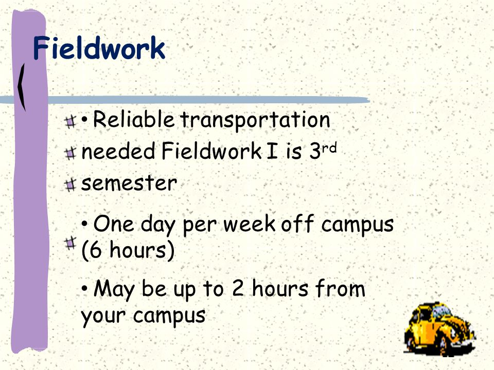 Fieldwork Reliable transportation needed Fieldwork I is 3 rd semester One day per week off campus (6 hours) May be up to 2 hours from your campus