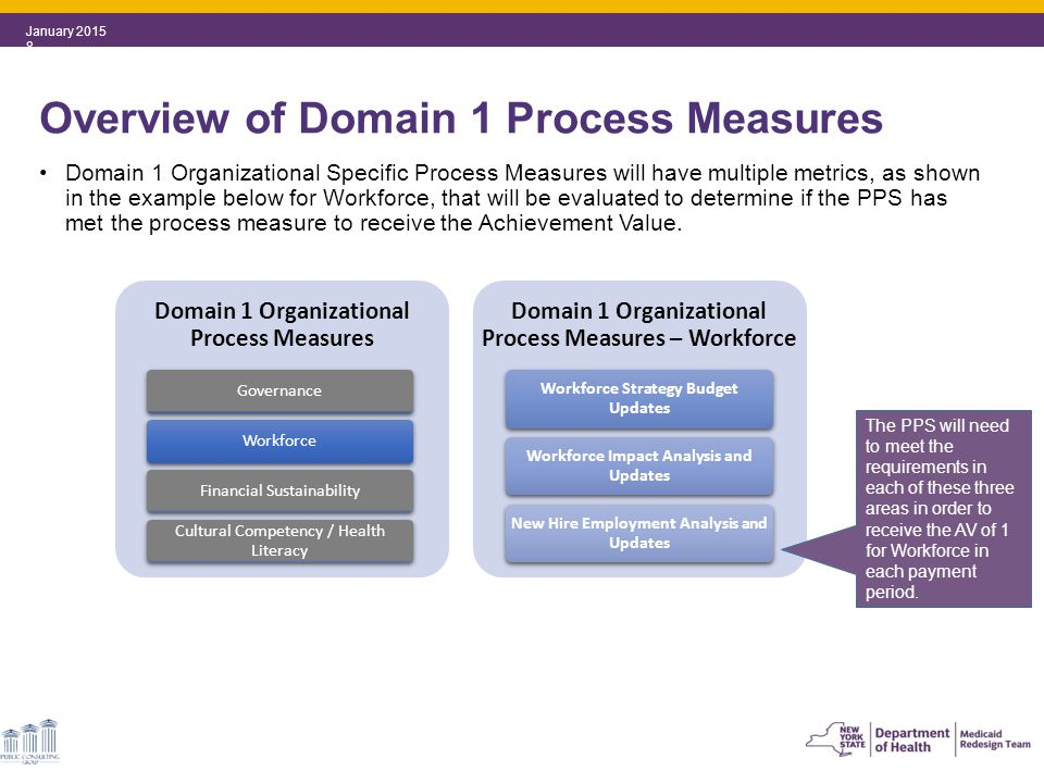 Domain 1 Organizational Specific Process Measures will have multiple metrics, as shown in the example below for Workforce, that will be evaluated to determine if the PPS has met the process measure to receive the Achievement Value.