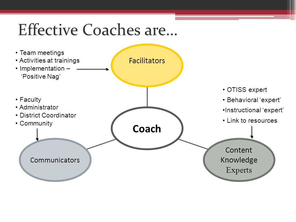 Effective Coaches are… Communicators Content Knowledge Experts Facilitators Coach Faculty Administrator District Coordinator Community OTISS expert Behavioral 'expert' Instructional 'expert' Link to resources Team meetings Activities at trainings Implementation – 'Positive Nag'