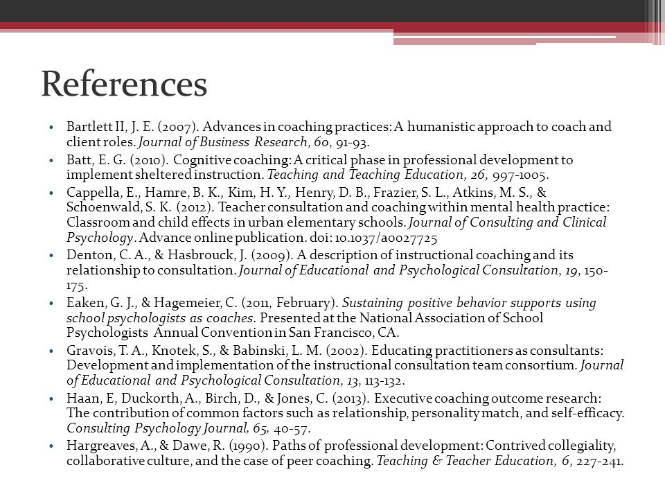 References Bartlett II, J. E. (2007).