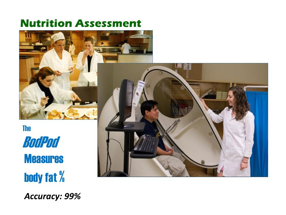 Measures body fat % Nutrition Assessment Accuracy: 99% The BodPod