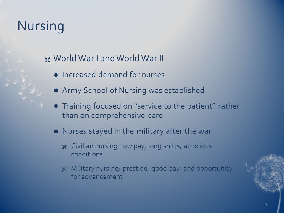 "Nursing  World War I and World War II  Increased demand for nurses  Army School of Nursing was established  Training focused on ""service to the pa"
