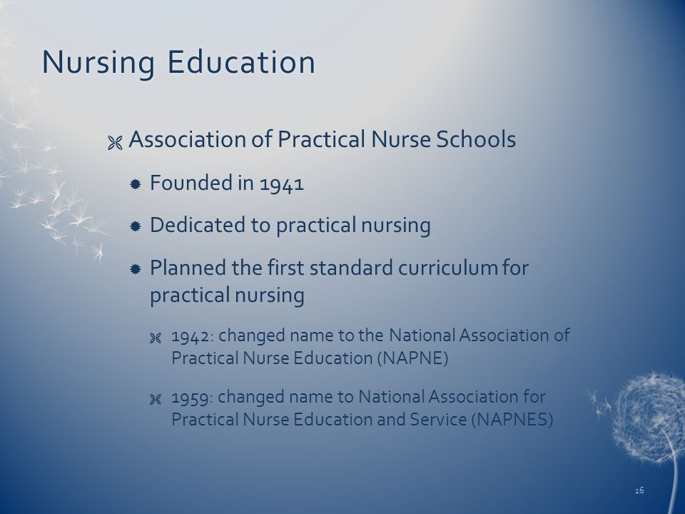 Nursing EducationNursing Education  Association of Practical Nurse Schools  Founded in 1941  Dedicated to practical nursing  Planned the first standard curriculum for practical nursing  1942: changed name to the National Association of Practical Nurse Education (NAPNE)  1959: changed name to National Association for Practical Nurse Education and Service (NAPNES) 16