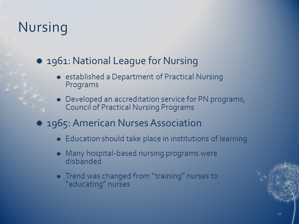Nursing  1961: National League for Nursing  established a Department of Practical Nursing Programs  Developed an accreditation service for PN progr