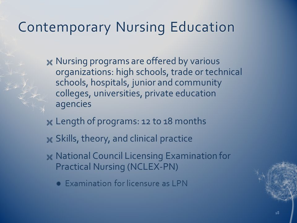 Contemporary Nursing EducationContemporary Nursing Education  Nursing programs are offered by various organizations: high schools, trade or technical schools, hospitals, junior and community colleges, universities, private education agencies  Length of programs: 12 to 18 months  Skills, theory, and clinical practice  National Council Licensing Examination for Practical Nursing (NCLEX-PN)  Examination for licensure as LPN 18