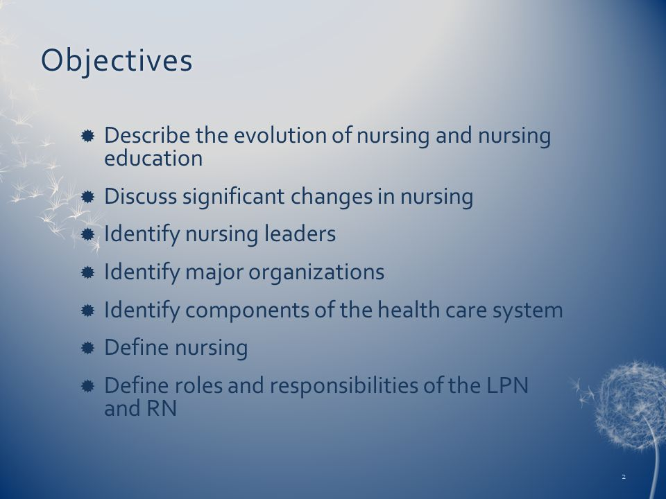 Objectives  Describe the evolution of nursing and nursing education  Discuss significant changes in nursing  Identify nursing leaders  Identify major organizations  Identify components of the health care system  Define nursing  Define roles and responsibilities of the LPN and RN 2