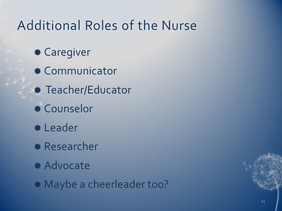 Additional Roles of the NurseAdditional Roles of the Nurse  Caregiver  Communicator  Teacher/Educator  Counselor  Leader  Researcher  Advocate  Maybe a cheerleader too.