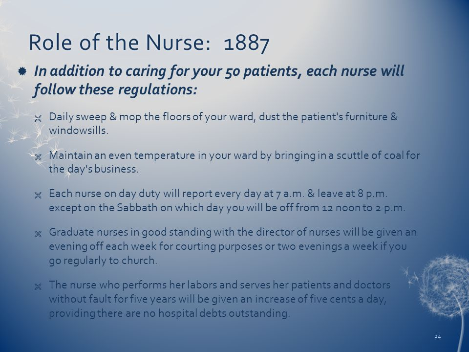Role of the Nurse: 1887Role of the Nurse: 1887  In addition to caring for your 50 patients, each nurse will follow these regulations:  Daily sweep &