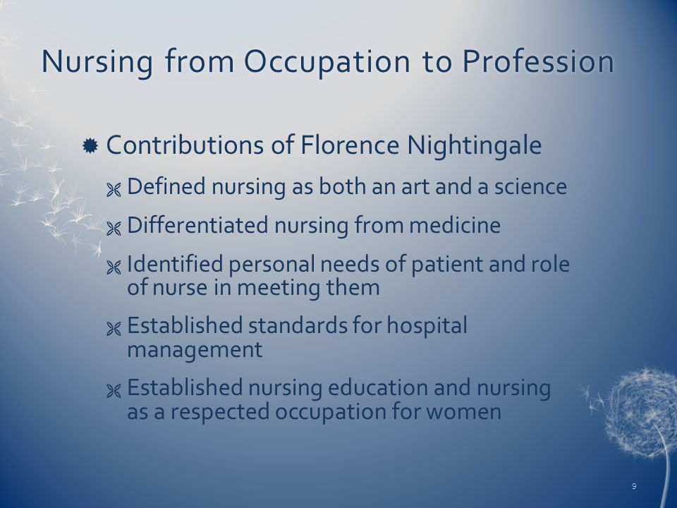 Nursing from Occupation to ProfessionNursing from Occupation to Profession  Contributions of Florence Nightingale  Defined nursing as both an art an