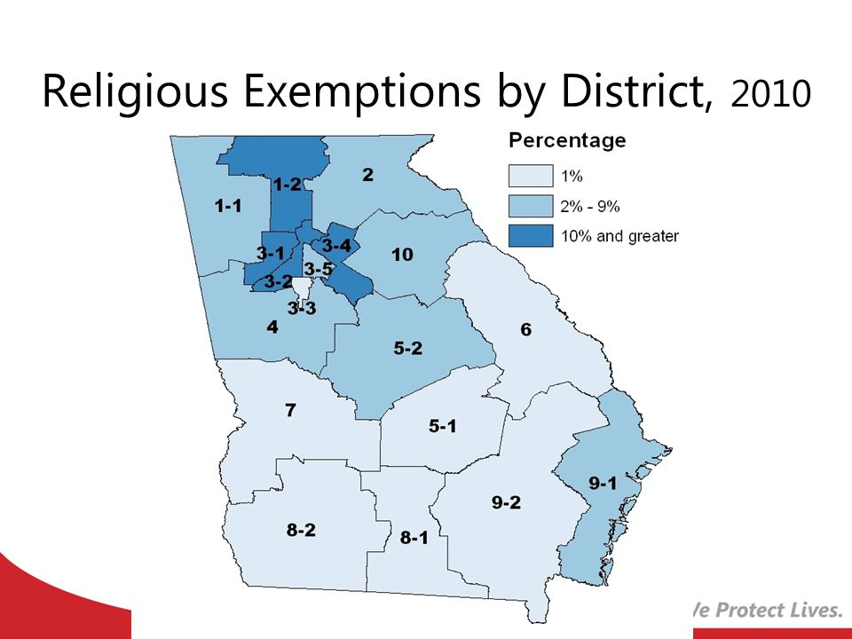 Religious Exemptions by District, 2010