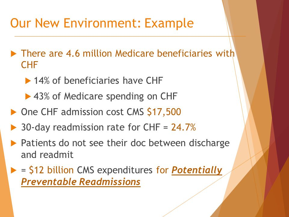  There are 4.6 million Medicare beneficiaries with CHF  14% of beneficiaries have CHF  43% of Medicare spending on CHF  One CHF admission cost CMS $17,500  30‐day readmission rate for CHF = 24.7%  Patients do not see their doc between discharge and readmit  = $12 billion CMS expenditures for Potentially Preventable Readmissions Our New Environment: Example