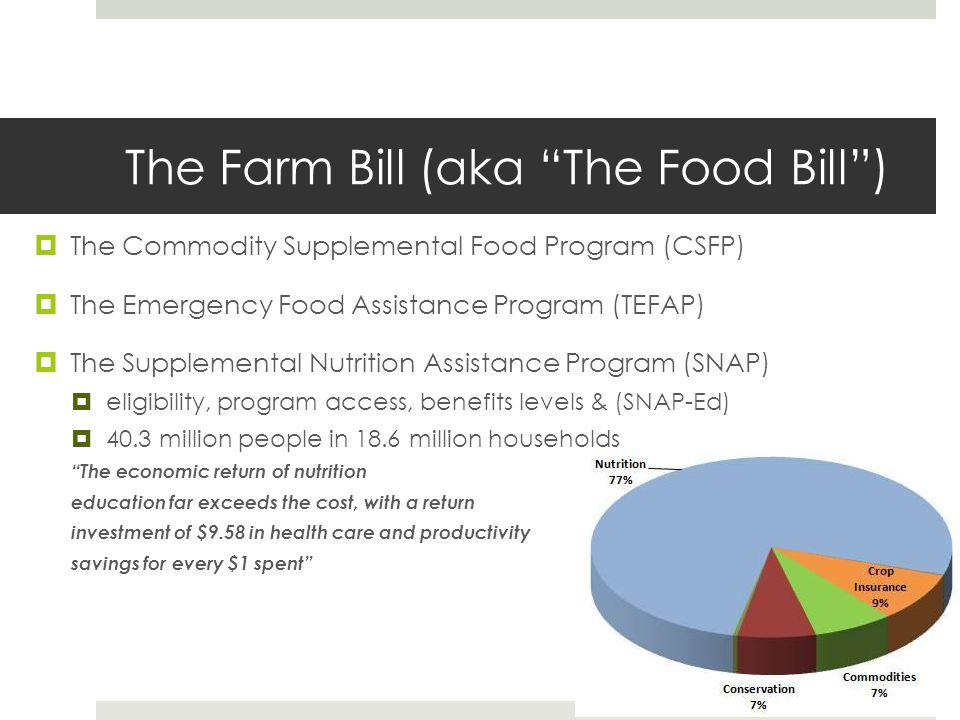 The Farm Bill (aka The Food Bill )  The Commodity Supplemental Food Program (CSFP)  The Emergency Food Assistance Program (TEFAP)  The Supplemental Nutrition Assistance Program (SNAP)  eligibility, program access, benefits levels & (SNAP-Ed)  40.3 million people in 18.6 million households The economic return of nutrition education far exceeds the cost, with a return investment of $9.58 in health care and productivity savings for every $1 spent