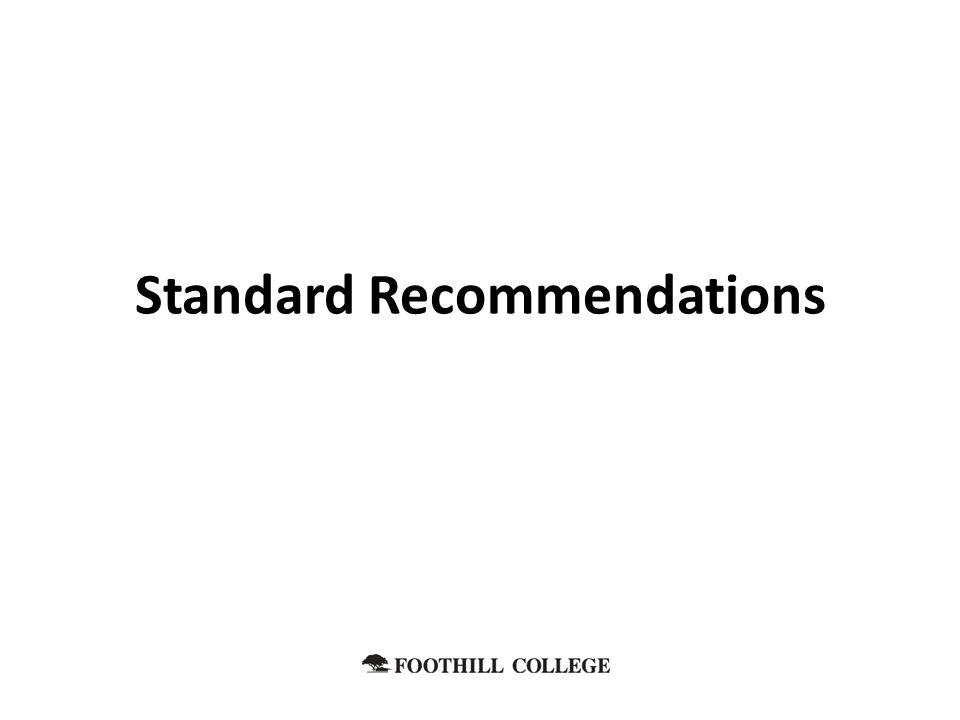 Standard Recommendations