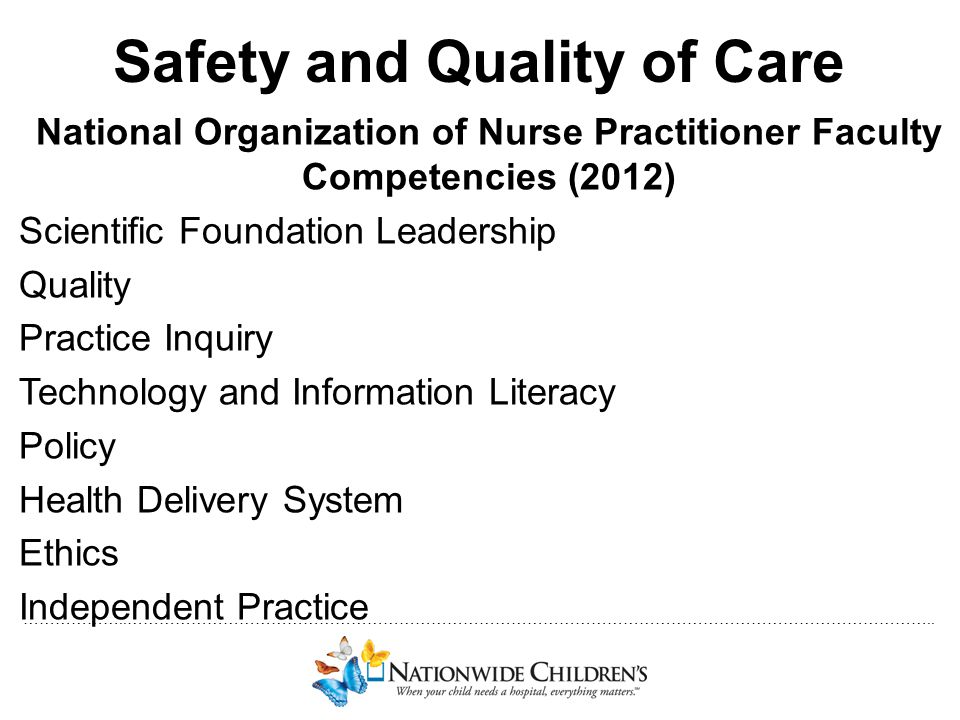 ………………..…………………………………………………………………………………………………………………………………….. Safety and Quality of Care National Organization of Nurse Practitioner Faculty Competenci