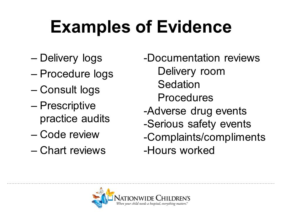 ………………..…………………………………………………………………………………………………………………………………….. Examples of Evidence –Delivery logs –Procedure logs –Consult logs –Prescriptive practice