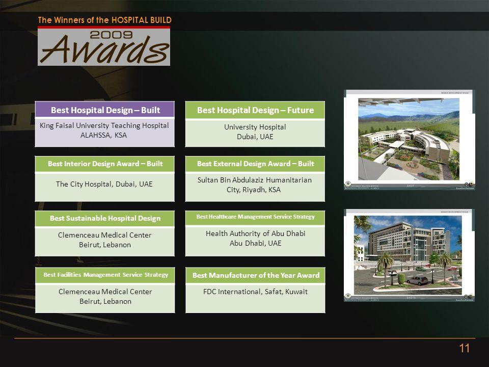 The Winners of the HOSPITAL BUILD Best Hospital Design – Built King Faisal University Teaching Hospital ALAHSSA, KSA Best Hospital Design – Future Uni