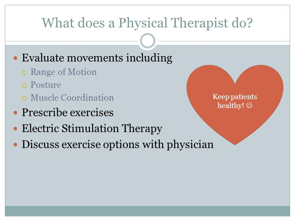 What does a Physical Therapist do.