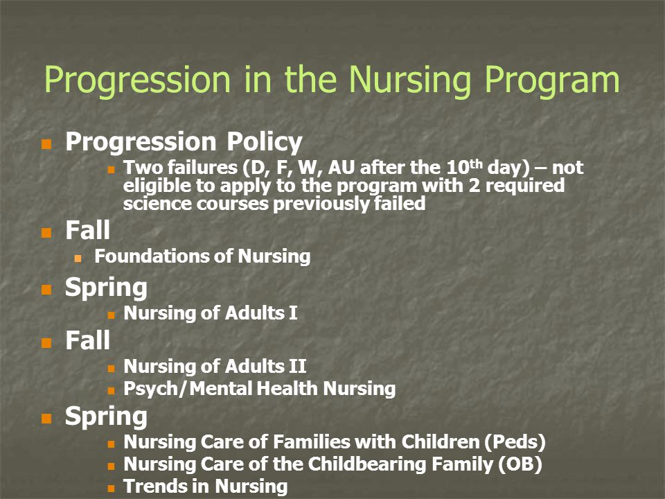 Progression in the Nursing Program Progression Policy Two failures (D, F, W, AU after the 10 th day) – not eligible to apply to the program with 2 req