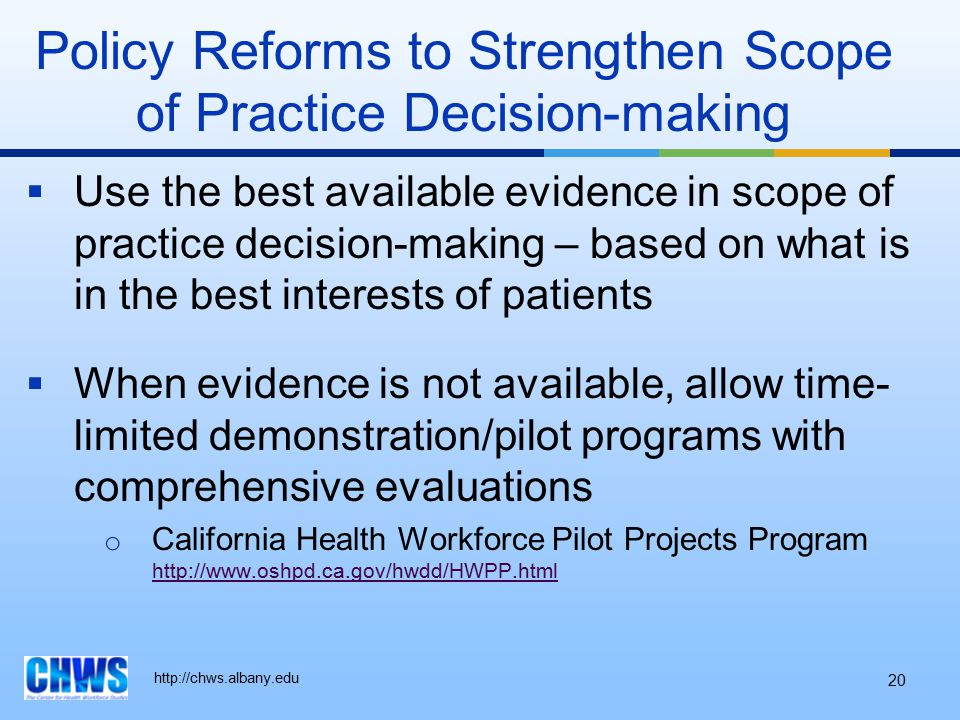 http://chws.albany.edu  Use the best available evidence in scope of practice decision-making – based on what is in the best interests of patients  W