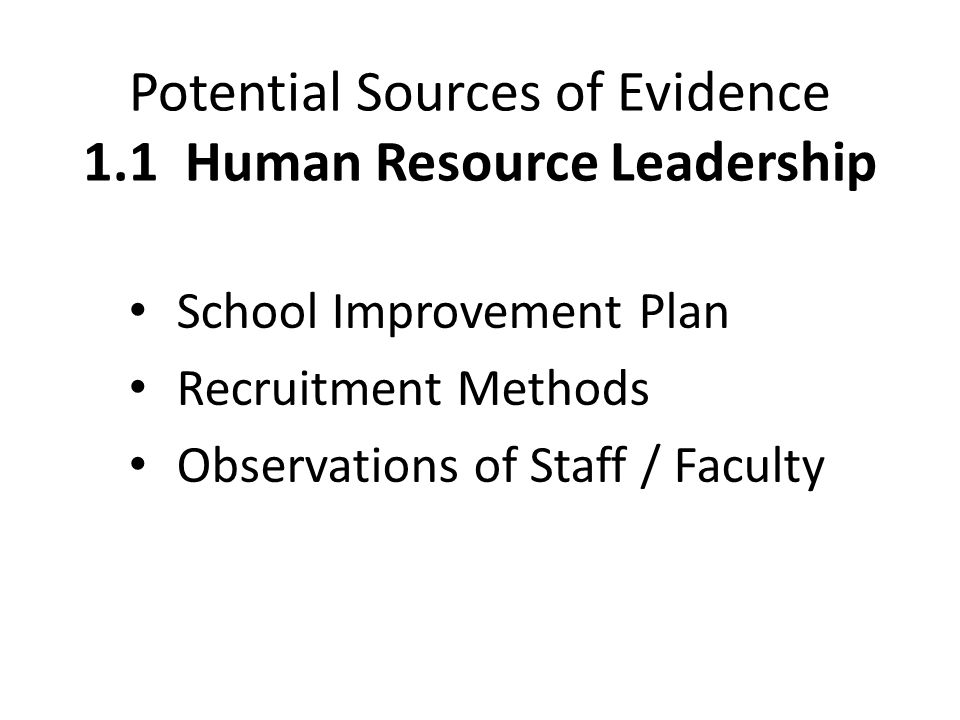 Potential Sources of Evidence 1.1 Human Resource Leadership School Improvement Plan Recruitment Methods Observations of Staff / Faculty