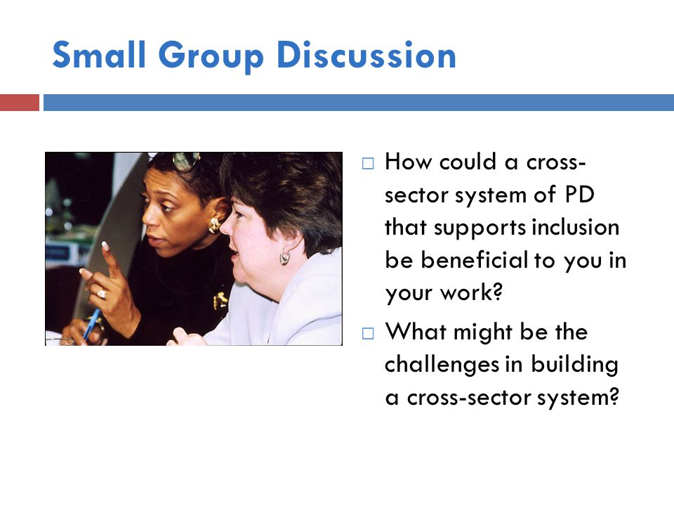 Small Group Discussion  How could a cross- sector system of PD that supports inclusion be beneficial to you in your work.