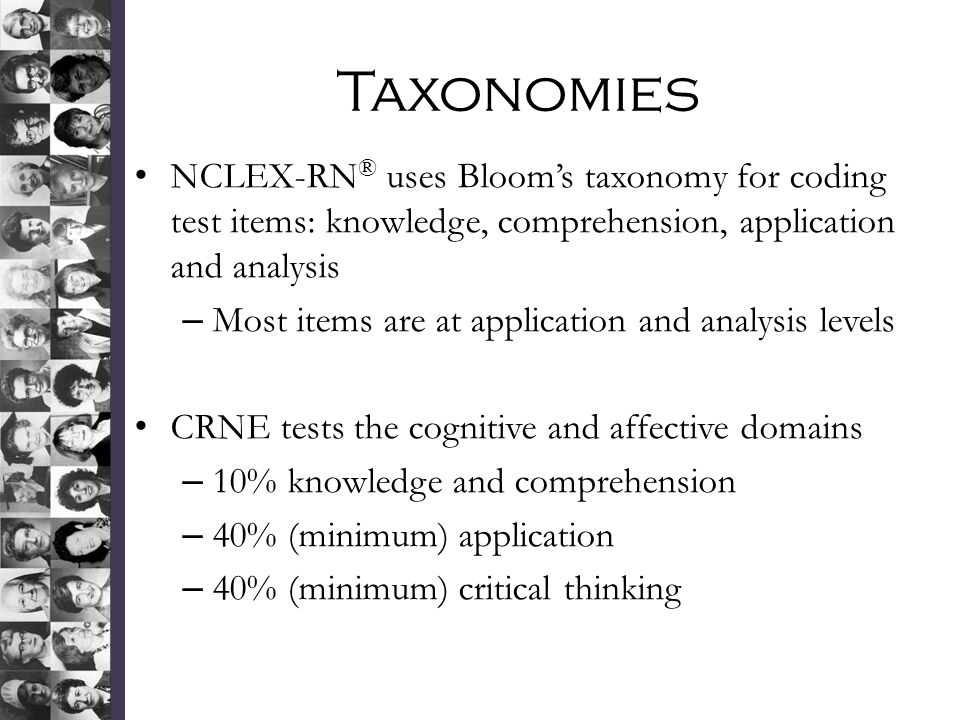 Taxonomies NCLEX-RN ® uses Bloom's taxonomy for coding test items: knowledge, comprehension, application and analysis – Most items are at application and analysis levels CRNE tests the cognitive and affective domains – 10% knowledge and comprehension – 40% (minimum) application – 40% (minimum) critical thinking