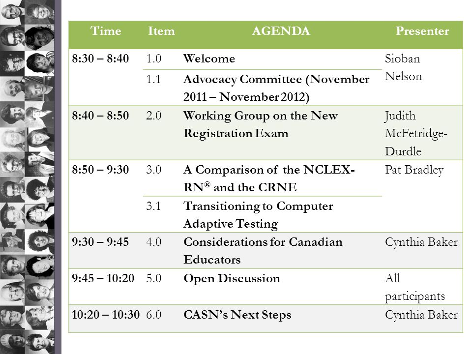 TimeItemAGENDAPresenter 8:30 – 8:401.0Welcome Sioban Nelson 1.1 Advocacy Committee (November 2011 – November 2012) 8:40 – 8:502.0 Working Group on the New Registration Exam Judith McFetridge- Durdle 8:50 – 9:303.0 A Comparison of the NCLEX- RN ® and the CRNE Pat Bradley 3.1 Transitioning to Computer Adaptive Testing 9:30 – 9:454.0 Considerations for Canadian Educators Cynthia Baker 9:45 – 10:205.0Open Discussion All participants 10:20 – 10:306.0CASN's Next StepsCynthia Baker