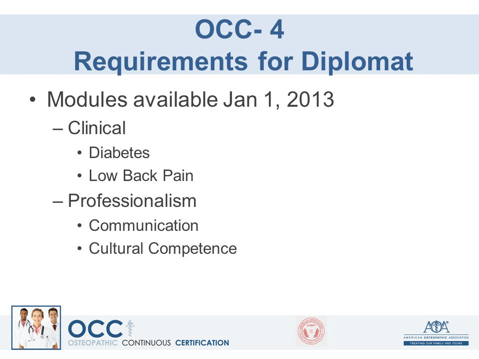 OCC- 4 Requirements for Diplomat Modules available Jan 1, 2013 –Clinical Diabetes Low Back Pain –Professionalism Communication Cultural Competence